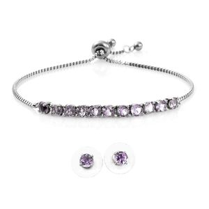 MD Rose De France Amethyst Stainless Steel Stud Earrings and Bolo Bracelet (Adjustable) TGW 3.65 cts.