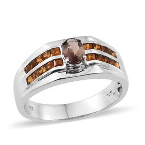 Mocha Scapolite, Santa Ana Madeira Citrine Platinum Over Sterling Silver Ring (Size 14.0) TGW 1.75 cts.