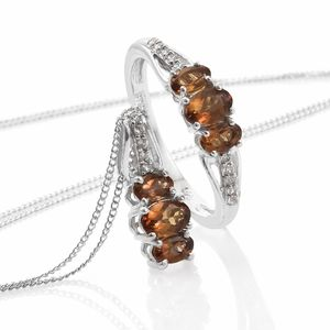 Mocha Scapolite, Cambodian Zircon Platinum Over Sterling Silver Ring (Size 8) and Pendant With Chain (20 in) TGW 1.84 cts.
