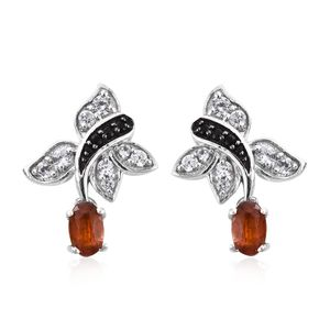 Orange Kyanite, Thai Black Spinel, Cambodian Zircon Platinum Over Sterling Silver Earrings TGW 2.58 cts.