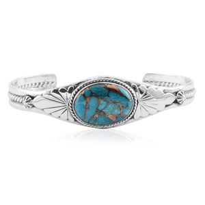 Santa Fe Style Mojave Blue Turquoise Sterling Silver Cuff (6.00 In) TGW 5.00 cts.