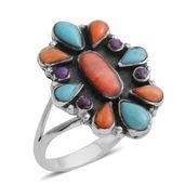 Santa Fe Style Spiny Oyster Shell Red and Orange, Kingman Turquoise, Mojave Purple Turquoise Sterling Silver Ring (Size 8.0) TGW 0.65 cts.