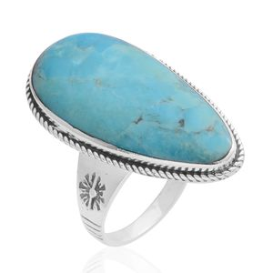 Santa Fe Style Kingman Turquoise Sterling Silver Ring (Size 10.0) TGW 2.25 cts.