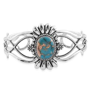 Santa Fe Style Mojave Blue Turquoise Sterling Silver Cuff (7.00 In) TGW 3.50 cts.