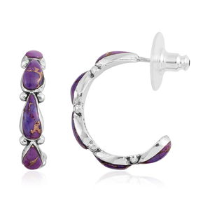 Purple Mojave Turquoise Sterling Silver Earrings TGW 5.000 Cts. TGW 5.00 Cts.