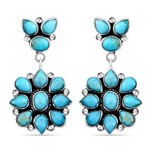Santa Fe Style Kingman Turquoise Sterling Silver Earrings TGW 6.50 cts.