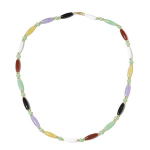 Budget Pay Bonanza Burmese Multi Color Jade Beads 14K YG Over Sterling Silver Necklace (18.50 in) TGW 84.00 cts.