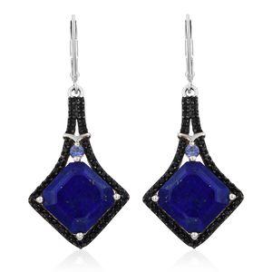 Asscher Cut Lapis Lazuli, Tanzanite, Thai Black Spinel Platinum Over Sterling Silver Earrings TGW 14.66 cts.