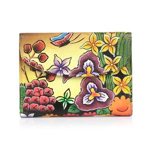 SUKRITI - Brown Floral and Butterfly Hand Painted Genuine Leather RFID Bi-Fold Wallet (5.5x4 in)