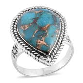 Santa Fe Style Mojave Blue Turquoise Sterling Silver Ring (Size 7.0) TGW 1.75 cts.