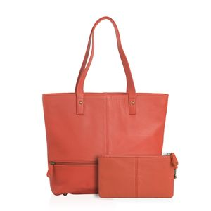 Red Genuine Leather Tote Bag with Standing Studs (14x3.5x12 in) with RFID Clutch (9x5 in)