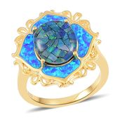 Australian Mosaic Opal, Simulated Blue Opal 14K YG Over Sterling Silver Ring (Size 11.0) TGW 3.75 cts.