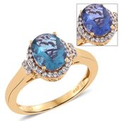 Color Change Fluorite, Cambodian Zircon Vermeil YG Over Sterling Silver Ring (Size 6.0) TGW 3.45 cts.