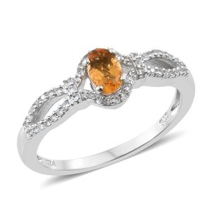Salamanca Fire Opal, Cambodian Zircon Platinum Over Sterling Silver Split Ring (Size 7.0) TGW 0.55 cts.