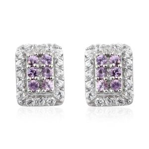 Mauve Sapphire, Cambodian Zircon Platinum Over Sterling Silver Stud Earrings TGW 0.85 cts.