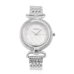 STRADA Austrian Crystal Japanese Movement Water Resistant Watch with Silvertone and Stainless Steel Back TGW 2.00 cts.