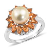 Golden South Sea Pearl (9-9.5 mm), Salamanca Fire Opal, Cambodian Zircon Platinum Over Sterling Silver Ring (Size 7.0) TGW 1.75 cts.