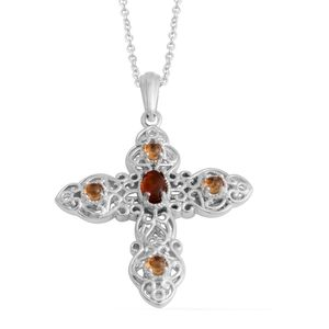 KARIS Collection - Baltic Amber, Brazilian Citrine Platinum Bond Brass Pendant With Stainless Steel Chain (20 in) TGW 0.62 cts.