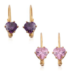 Set of 2 Simulated Pink and Purple Diamond Goldtone Lever Back Heart Earrings TGW 5.00 cts.