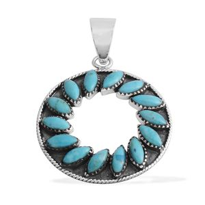 Santa Fe Style Kingman Turquoise Sterling Silver Pendant without Chain TGW 3.75 cts.