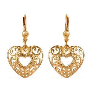 14K YG Over Sterling Silver Openwork Heart Earrings