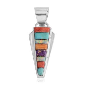 Santa Fe Style Multi Turquoise, Lab Created Opal, Multi Color Spiny Oyster Shell Sterling Silver Pendant without Chain TGW 0.50 cts.
