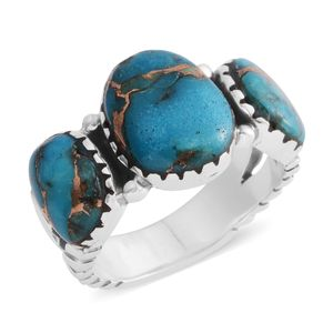 Santa Fe Style Mojave Blue Turquoise Sterling Silver Trilogy Split Ring (Size 9.0) TGW 6.50 cts.