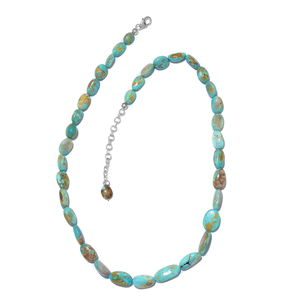 Nitin's Knockdown Deals Turquoise Platinum Over Sterling Silver Necklace (18-20 in) TGW 116.00 cts.