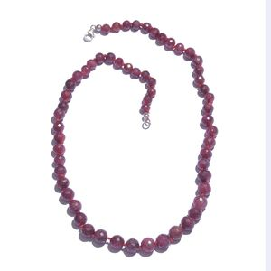 Ruby (Enhanced) Platinum Over Sterling Silver Necklace (20 in) with Lobster Clasp TGW 250.00 cts.