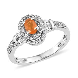 Salamanca Fire Opal, Cambodian Zircon Platinum Over Sterling Silver Ring (Size 6.0) TGW 0.81 cts.
