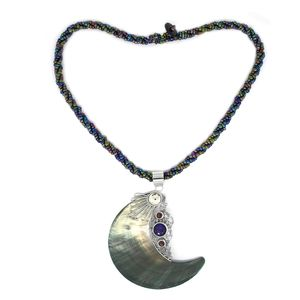 MEGA CLEARANCE Bali Legacy Collection Mother of Pearl, Amethyst, Mozambique Garnet Garnet Sterling Silver Pendant With Seed Beads Chain (18 in) TGW 4.49 cts.