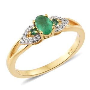 Premium Brazilian Emerald, Cambodian Zircon Vermeil YG Over Sterling Silver Ring (Size 5.0) TGW 0.66 cts.