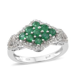 Premium Brazilian Emerald, Cambodian Zircon Platinum Over Sterling Silver Cluster Ring (Size 5.0) TGW 1.65 cts.