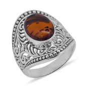 Bali Legacy Collection Baltic Amber Sterling Silver Ring (Size 7.0)