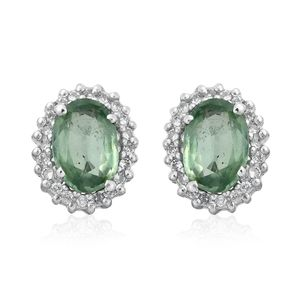 Green Kyanite, Cambodian Zircon Platinum Over Sterling Silver Halo Stud Earrings TGW 2.26 cts.