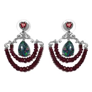 Australian Mosaic Opal, Niassa Ruby Platinum Over Sterling Silver Beaded Chandelier Earrings TGW 41.20 cts.