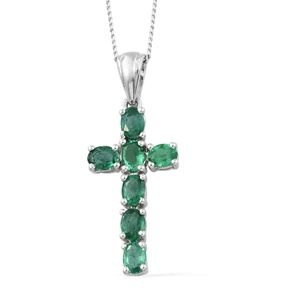 Premium Brazilian Emerald Platinum Over Sterling Silver Cross Pendant With Chain (20 in) TGW 1.25 cts.