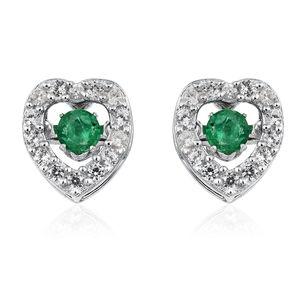 Premium Brazilian Emerald, Cambodian Zircon Platinum Over Sterling Silver Inner Heart Stud Earrings TGW 0.53 cts.