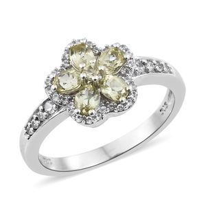 Madagascar Olive Apatite, Cambodian Zircon Platinum Over Sterling Silver Floral Ring (Size 7.0) TGW 1.37 cts.