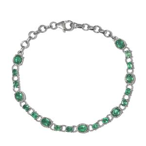 Brazilian Emerald Platinum Over Sterling Silver Bracelet (6.50-7.50In) TGW 4.08 cts.