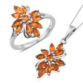 Salamanca Fire Opal Platinum Over Sterling Silver Ring (Size 9) and Pendant With Chain (20 in) TGW 1.96 cts.