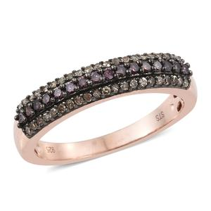 Purple Diamond (IR), Natural Champagne Diamond Black Rhodium & Vermeil RG Over Sterling Silver Band Ring (Size 9.0) TDiaWt 0.50 cts, TGW 0.50 cts.
