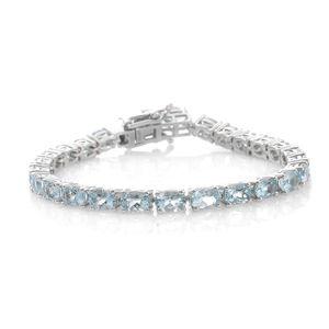 Premium AAA Espirito Santo Aquamarine Platinum Over Sterling Silver Tennis Bracelet (6.50 In) TGW 10.66 cts.