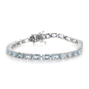 Premium AAA Espirito Santo Aquamarine Platinum Over Sterling Silver Tennis Bracelet (7.50 In) TGW 11.90 cts.