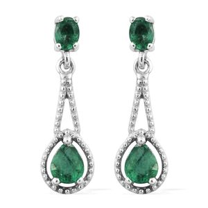 Premium Brazilian Emerald Platinum Over Sterling Silver Drop Earrings TGW 0.87 cts.