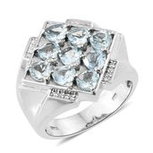 AAA Espirito Santo Aquamarine, Cambodian Zircon Platinum Over Sterling Silver Men's Ring (Size 12.0) TGW 3.73 cts.