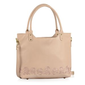 Peach RFID Leather Embroidered Shoulder Bag (17.5x4x12 in)