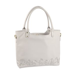 Pearl White RFID Leather Embroidered Shoulder Bag (17.5x4x12 in)