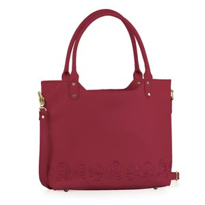Fuchsia RFID Leather Embroidered Shoulder Bag (17.5x4x12 in)