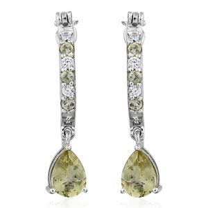 Madagascar Olive Apatite, Cambodian Zircon Platinum Over Sterling Silver Drop Hoop Earrings TGW 2.88 cts.